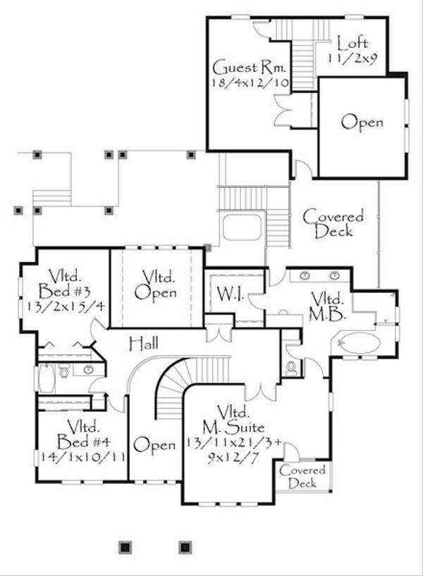 Craftsman Style House Plan - 5 Beds 3.5 Baths 4984 Sq/Ft Plan #509-24 Floor Plan - Upper Floor Plan