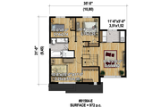 Modern Style House Plan - 3 Beds 1 Baths 1724 Sq/Ft Plan #25-4589 Floor Plan - Upper Floor