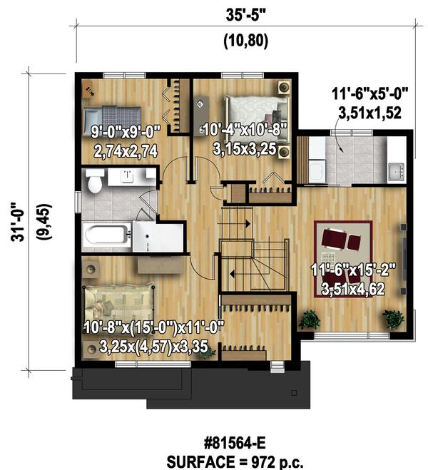 Modern Floor Plan - Upper Floor Plan Plan #25-4589
