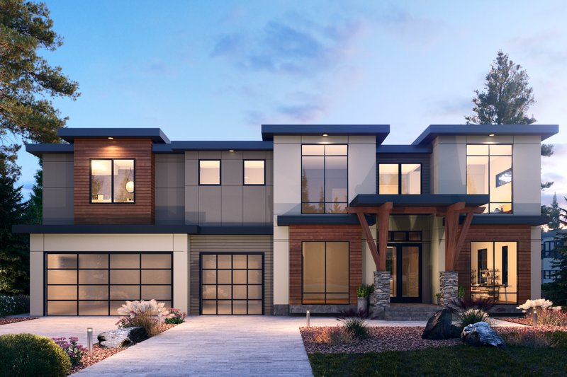 Dream House Plan - Contemporary Exterior - Front Elevation Plan #1066-104
