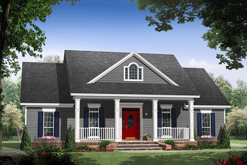 Country Style House Plan - 3 Beds 2 Baths 1653 Sq/Ft Plan #21-365 Exterior - Front Elevation