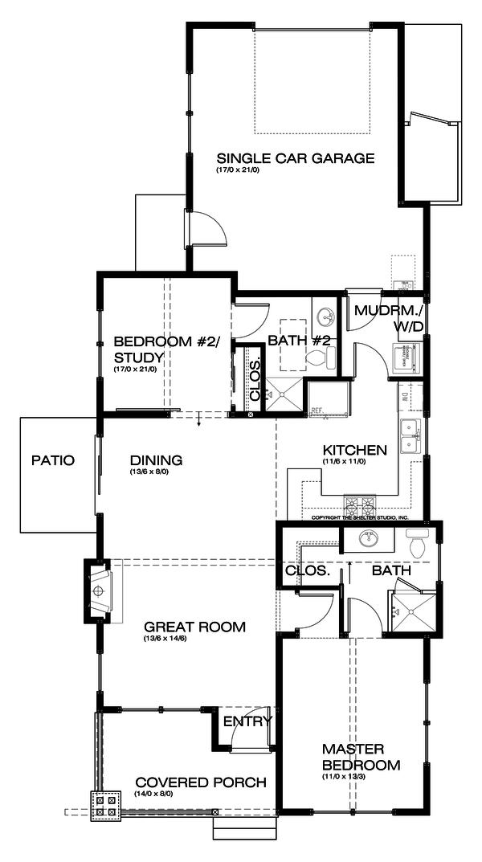 Craftsman Floor Plan - Main Floor Plan #895-54