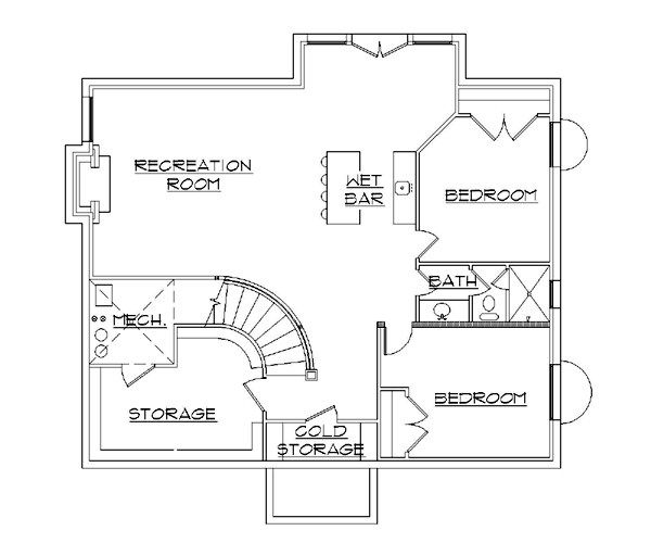 House Plan Design - European Floor Plan - Lower Floor Plan #5-373