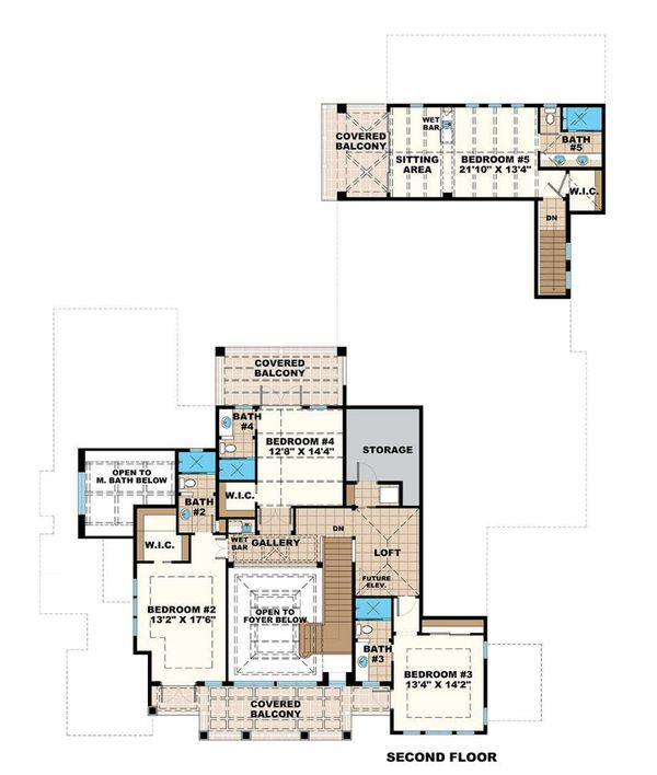Mediterranean Floor Plan - Upper Floor Plan #27-558