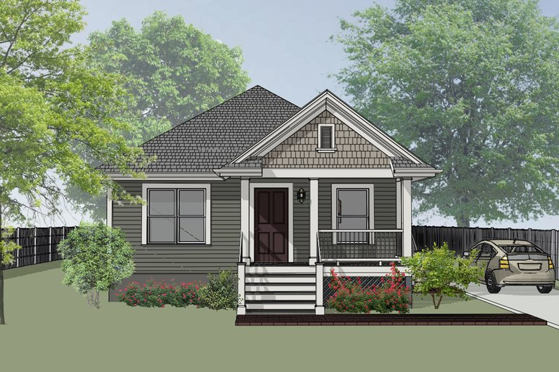 Cottage Style House Plan - 3 Beds 2 Baths 1092 Sq/Ft Plan #79-115 Exterior - Front Elevation