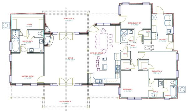 Ranch Floor Plan - Main Floor Plan Plan #408-102