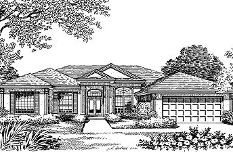 Mediterranean Style House Plan - 4 Beds 3 Baths 2746 Sq/Ft Plan #417-327 Exterior - Front Elevation