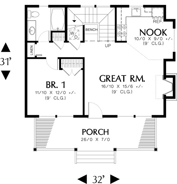 Main Floor Plan - 950 square foot Craftsman Cottage