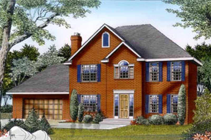 Colonial Style House Plan - 3 Beds 2.5 Baths 2061 Sq/Ft Plan #87-205 Exterior - Front Elevation