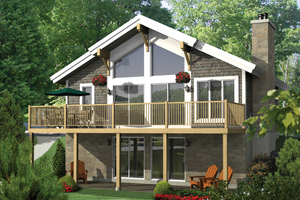 Cabin Exterior - Front Elevation Plan #25-4523