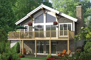 Cabin Exterior - Front Elevation Plan #25-4523