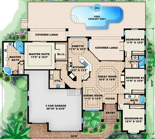 European Floor Plan - Main Floor Plan Plan #27-436