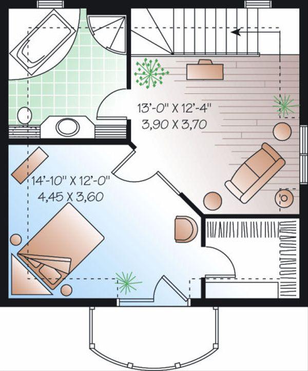 European Floor Plan - Upper Floor Plan Plan #23-848