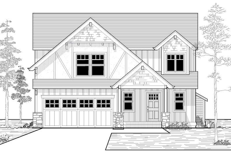 Craftsman Style House Plan - 3 Beds 2.5 Baths 1698 Sq/Ft Plan #53-525 Exterior - Front Elevation