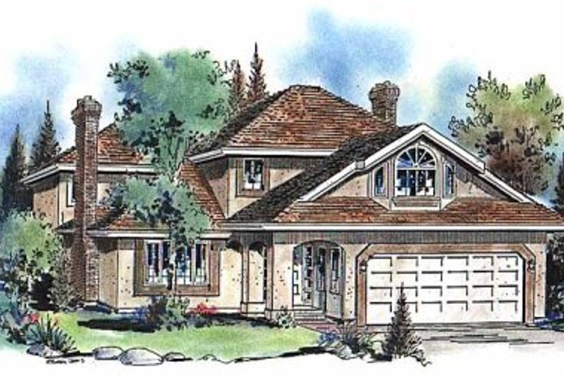House Blueprint - European Exterior - Front Elevation Plan #18-205