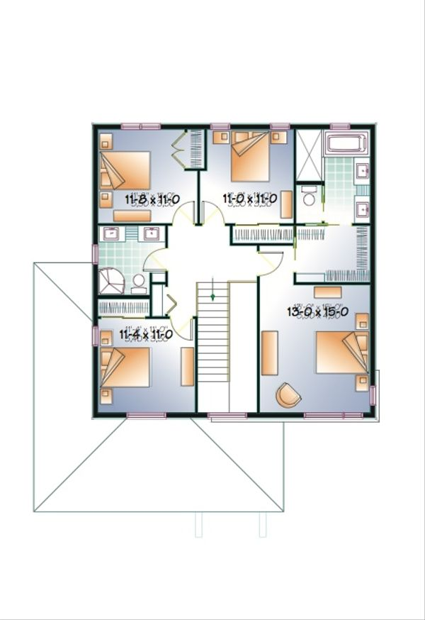 Modern Floor Plan - Upper Floor Plan Plan #23-2292