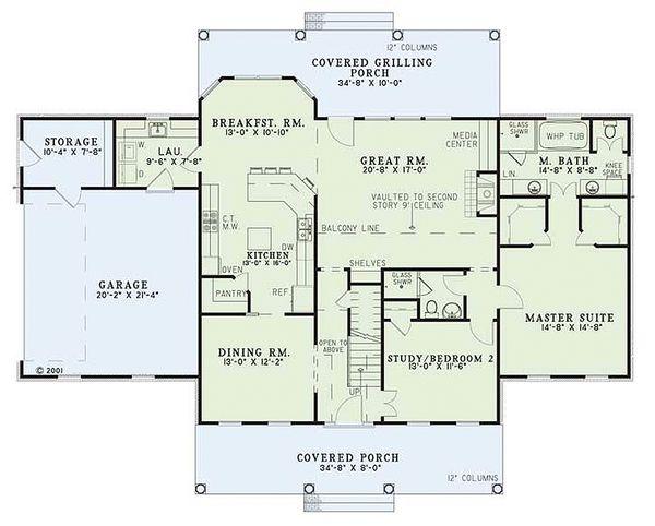 House Design - Colonial Floor Plan - Main Floor Plan #17-2068
