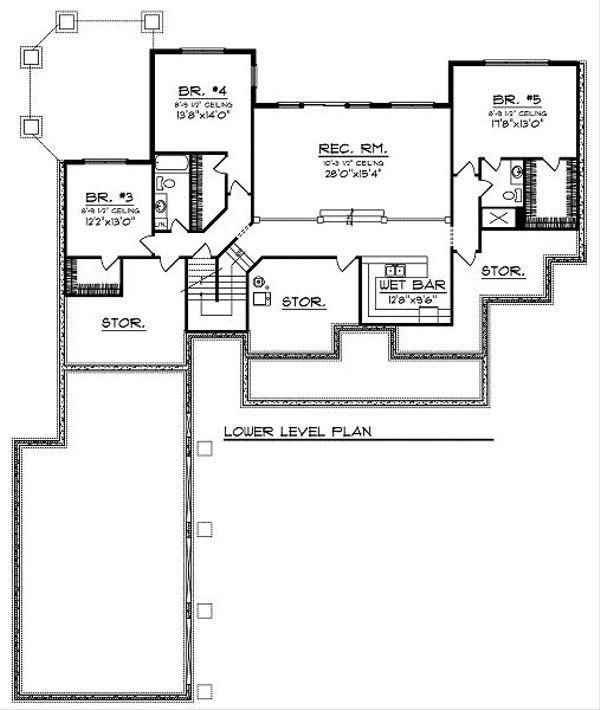 Traditional Floor Plan - Lower Floor Plan Plan #70-879