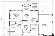 Craftsman Style House Plan - 4 Beds 3.5 Baths 3162 Sq/Ft Plan #51-446 Floor Plan - Main Floor Plan