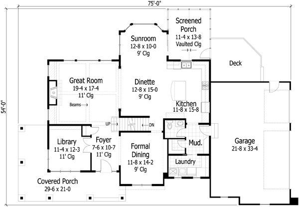 Traditional styel house plan, main level floor plan