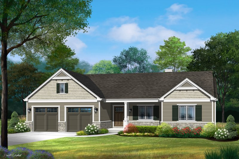 Architectural House Design - Ranch Exterior - Front Elevation Plan #22-625