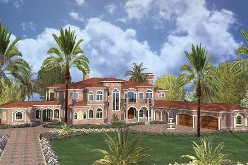 Mediterranean Style House Plan - 7 Beds 9.5 Baths 11027 Sq/Ft Plan #420-200 Exterior - Front Elevation