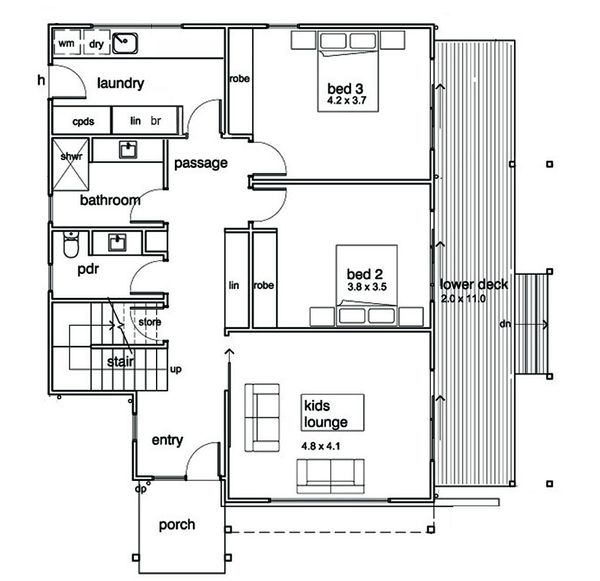Modern Floor Plan - Main Floor Plan Plan #496-21