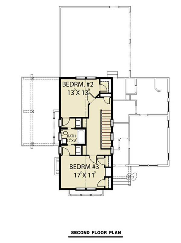 Contemporary Floor Plan - Upper Floor Plan #1070-80