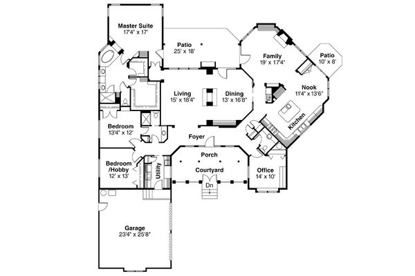 Ranch Floor Plan - Main Floor Plan Plan #124-383