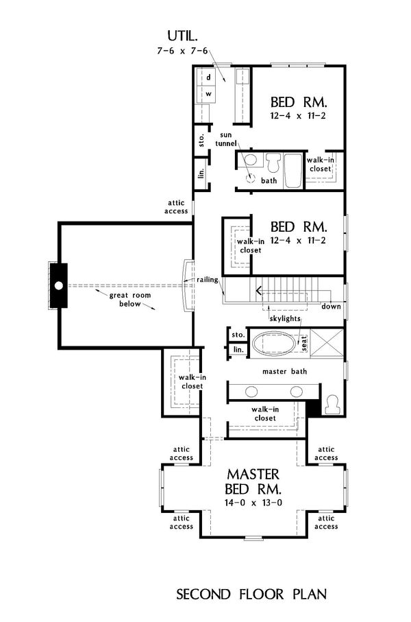 Architectural House Design - Traditional Floor Plan - Upper Floor Plan #929-1045