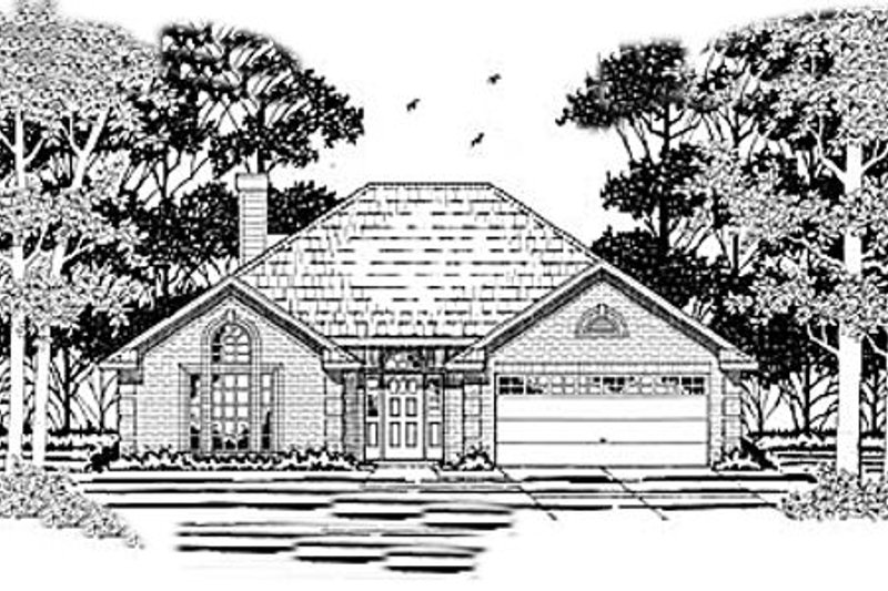 European Style House Plan - 3 Beds 2 Baths 1431 Sq/Ft Plan #42-189 Exterior - Front Elevation