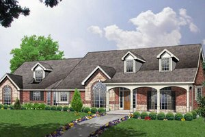 Architectural House Design - Ranch Exterior - Front Elevation Plan #40-132
