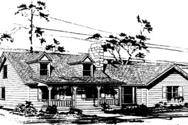 Country Style House Plan - 3 Beds 2 Baths 2036 Sq/Ft Plan #10-234 Exterior - Front Elevation