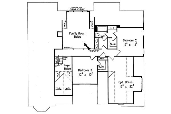 Traditional Floor Plan - Upper Floor Plan Plan #927-33