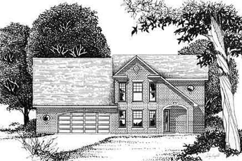 European Style House Plan - 3 Beds 2 Baths 1447 Sq/Ft Plan #409-113 Exterior - Front Elevation