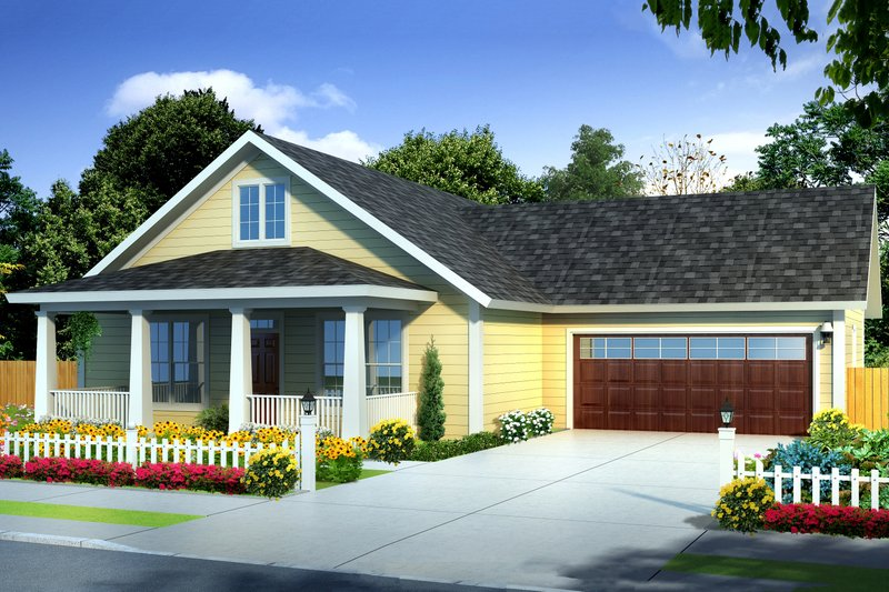Cottage Exterior - Front Elevation Plan #513-2093