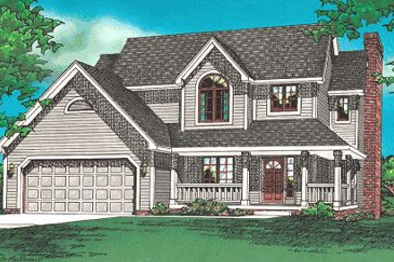 Traditional Style House Plan - 4 Beds 2.5 Baths 1846 Sq/Ft Plan #20-584 Exterior - Front Elevation