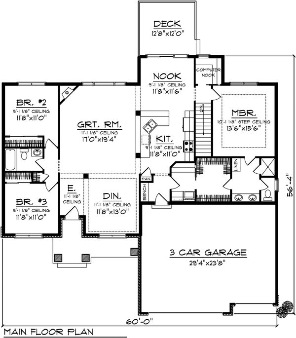 Bungalow Floor Plan - Main Floor Plan Plan #70-1070