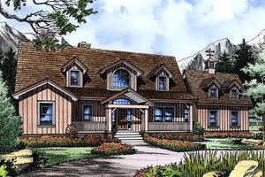 House Blueprint - European Exterior - Front Elevation Plan #417-277