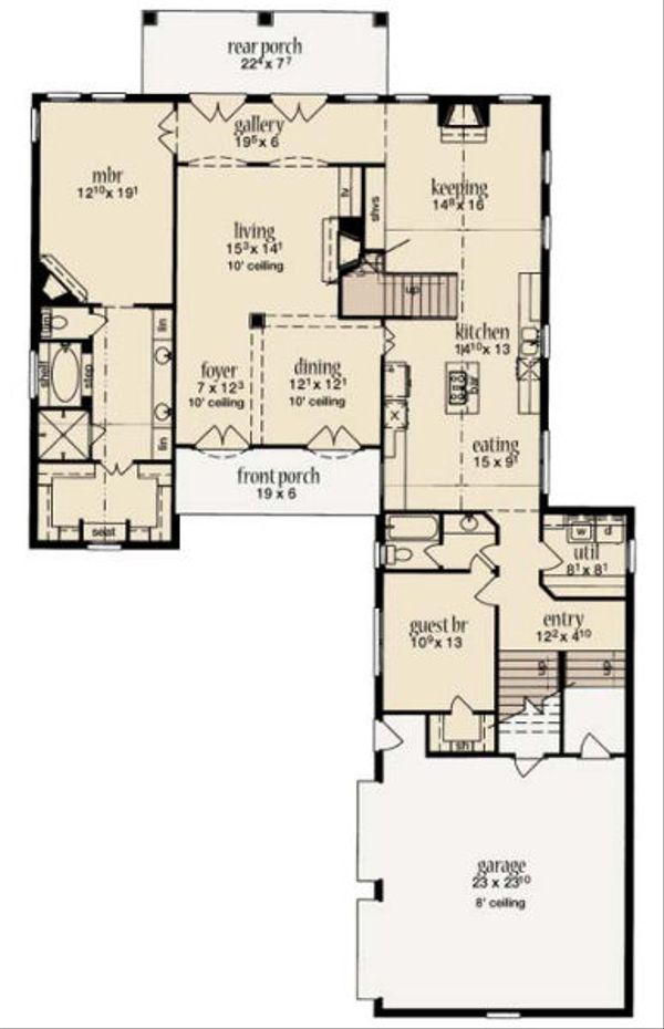 European Floor Plan - Main Floor Plan Plan #36-470