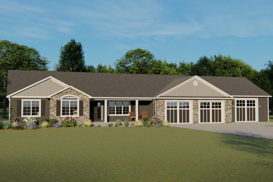 Craftsman Exterior - Front Elevation Plan #1064-36