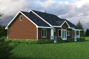Country Style House Plan - 3 Beds 2 Baths 1412 Sq/Ft Plan #18-1036 Exterior - Rear Elevation
