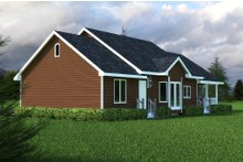 House Plan Design - Country style home, ranch design, rear elevation