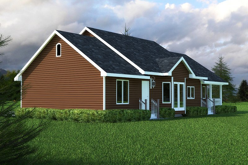 Country style home, ranch design, rear elevation