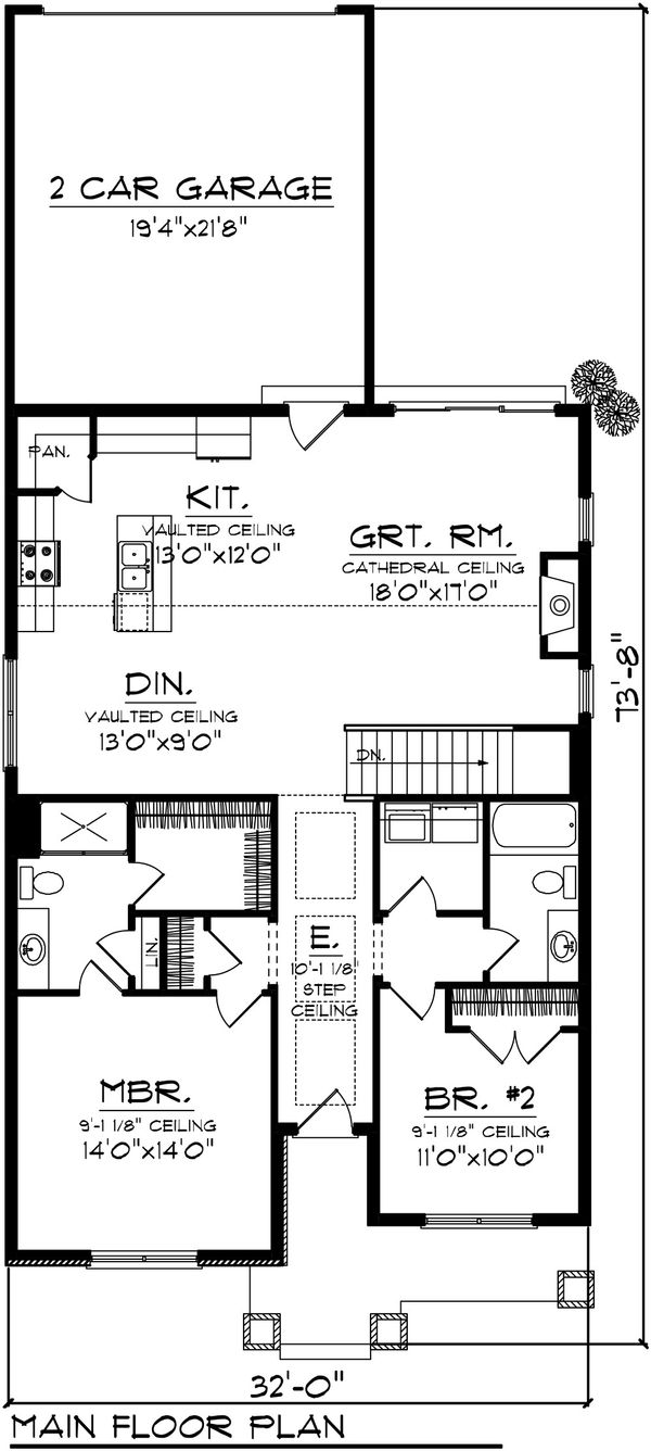 Craftsman Floor Plan - Main Floor Plan #70-1075