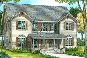 Southern Exterior - Front Elevation Plan #140-146