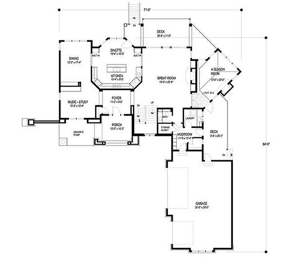 European Floor Plan - Main Floor Plan Plan #56-593