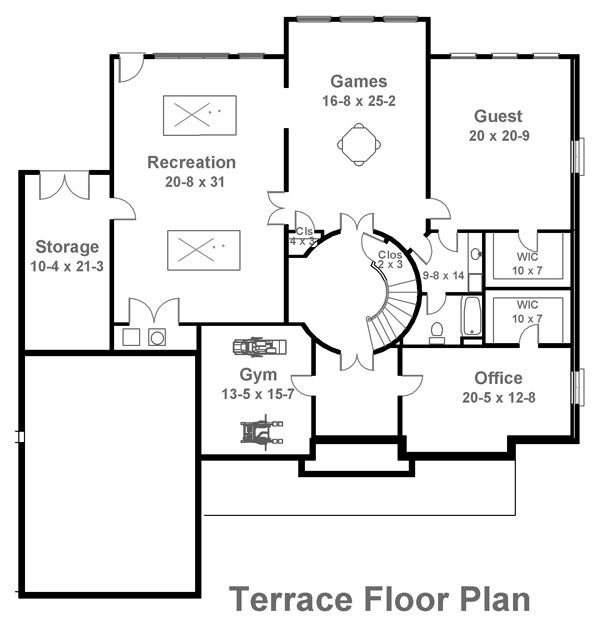 Classical Floor Plan - Lower Floor Plan Plan #119-113