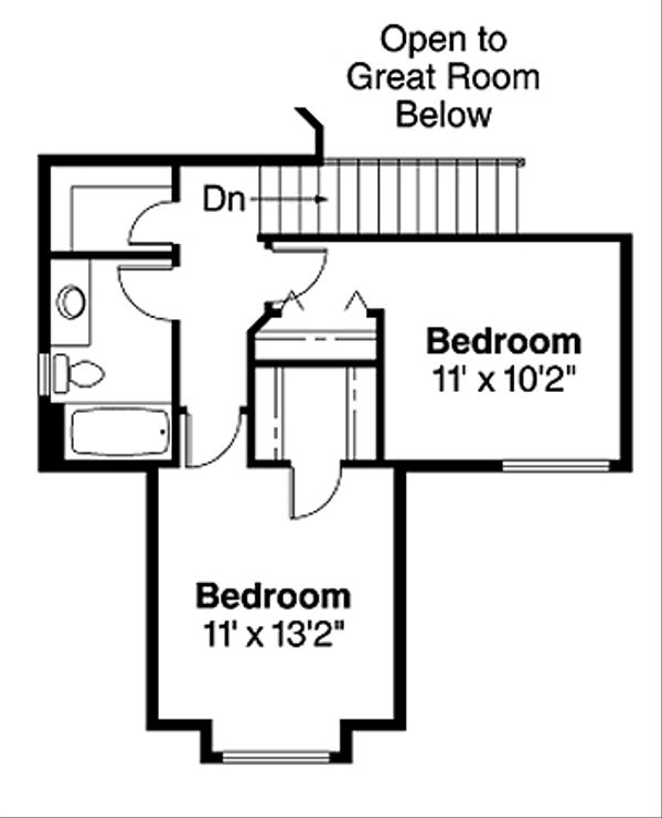 Traditional Floor Plan - Upper Floor Plan Plan #124-444