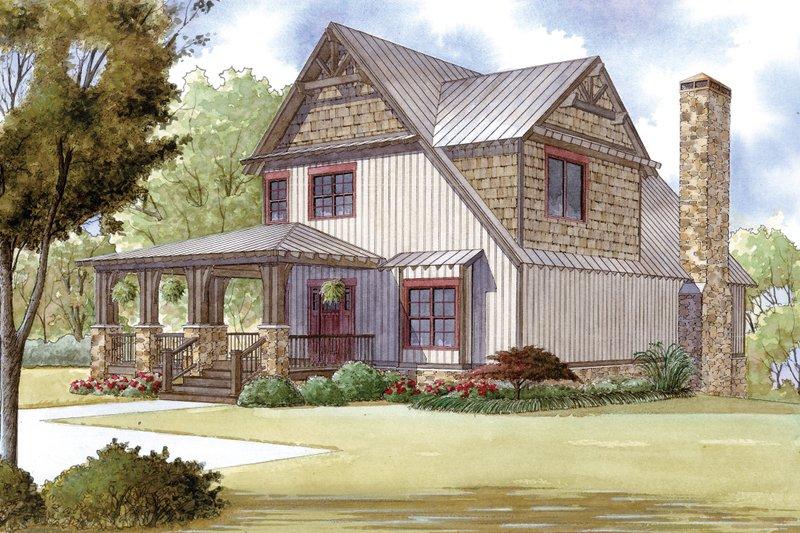 Cabin Exterior - Front Elevation Plan #923-25